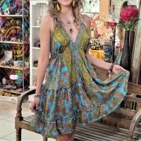 Women Beach Summer Halter Mini Flowy Dresses Free Size - 10203 SHORT BLUE/GREEN