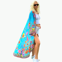 Women Elegant Halter Long Maxi Dresses/Cover Up Free Size - BLUE Flowers Hawaii Duster