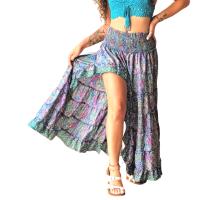 Women Beach Summer Long Flamingo Smock Skirt - PURPLE/BLUE