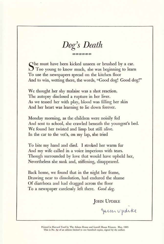 Dogs Death John Updike First Edition
