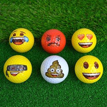 Emoji Erwachsene 6er Set Neuartige Fun Golfbälle, Multicoloured, 6 - 6
