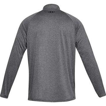Under Armour Herren Tech 2.0 1/2 Zip sportliches Longsleeve, schnell trocknendes Langarmshirt für Männer, Grau (Carbon Heather/Black 90), Medium - 4
