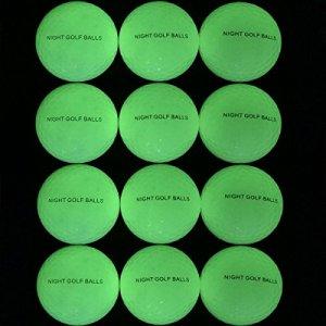 (Lot de 12) lennystone Nuit de balles de golf, rechargeable Nuit fluorescent de Golf Ballon d'entraînement, Glow in the Dark, se recharge par la lumière UV lampe torche ou soleil (UV Lampe torche incluse)