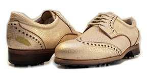Henry & Magda , Chaussures de Golf Pour Femme  Soft Spikes Semelle en cuir   Imperméable à l'eau ( 37.5 EU DERBY GOLDEN SAND)