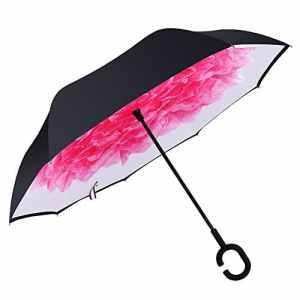 HISEASUN Parapluie Inversé Innovant Anti-UV Double Couche Coupe-Vent Mains Libres poignée en Forme C – Idéal pour Voyage et Voiture(Lotus rouge)