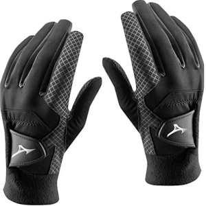 Pair of 2018 Mizuno ThermaGrip Mens Thermal Playing Golf Gloves Black Medium