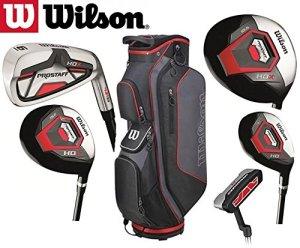 Wilson Prostaff-Fers en fibre de carbone HDX & fibre HDX Woods Super Deluxe Club de Golf & Prostaff pour homme-Noir/rouge-Sac de Golf pour homme droitier (édition limitée, disponible uniquement à Partir de l'Golf ranger 4u) Ltd