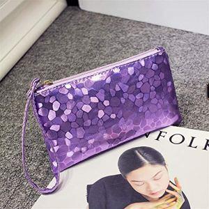Sacs à bandoulière Ladies Fasion Elegant Sequin Amour Pierre Cosmetic Bag Enveloppe d'embrayage (Violet) pour Femme