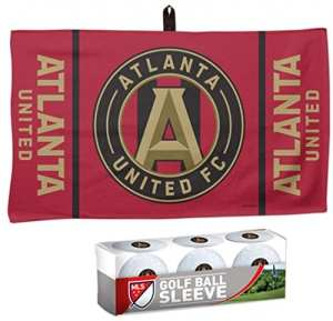 Wincraft Bundle 2 éléments : MLS Atlanta United FC 1 Golf gaufré Serviette 35,6 x 61 cm et 1 Pochette de 3 balles de Golf