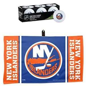 Wincraft Lot de 2 Articles : NHL New York Islanders 1 Serviette gaufrée de Golf 35,6 x 61 cm et 1 Manchon de 3 balles de Golf