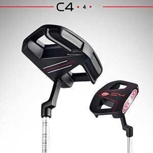 PGM 88,9cm mâle en acier inoxydable Club de golf putter, Putter Maillet avec tête et base Line Noir/Rouge