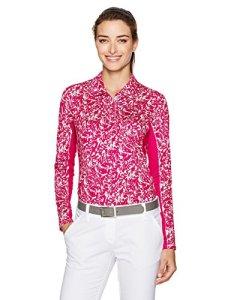adidas Golf pour Femme 3Stripe Manches Longues imprimé UPF Polo, Femme, White/Energy Pink