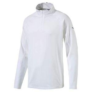 Puma Core 1/4 Zip Popover Crest Sweat-Shirt Homme, Bright White, XL