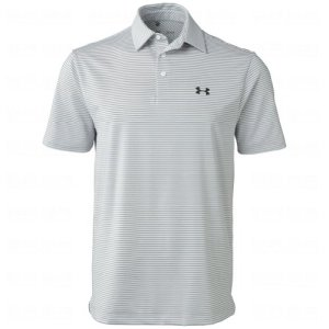 Under Armour Elevated Heather Stripe Polo Tee – Men's White / True Gray Hthr / Black XL