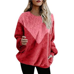 ALISIAM Sweat-Shirt Femmes Tops Fashion Ladies Hiver Pull Manches Longues Peluche Patchwork Top Femme Manteau Femmes Hiver Chaud Moelleux Hairy Sweat-Shirt Hooded Mode Casual Lâche Top Pull Jumper