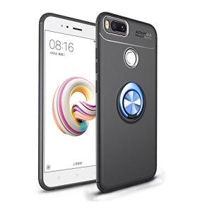 Coque pour Xiaomi Mi 5X/ Mi A1 Housses étuis 2 en 1 Antidérapant TPU Silicone Protecteur Souple Ultra-mince Étui Arrière en PC Coque avec Magnétique Métal Anneau Boucle- Noir et Boucle Bleu