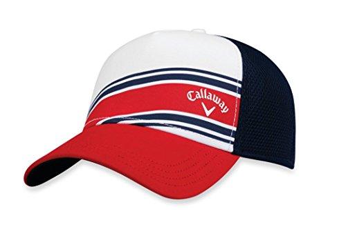 Callaway Golf 2018à Rayures en Maille réglable Chapeau, Headwear, White/Red/Navy