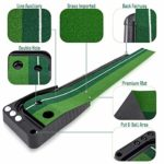 XIN DU QU Accessoires de golf PGM Mini tapis de golf Putting Rod Trainer 3 m sans Auto Ball Return Fairway (Vert), Vert