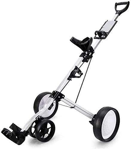 Chariots De Golf Chariot de Golf Golf Push Push Chariots 4 Roues Golf Panier Push Push Poule Pliant Golf Pull Chariot avec Porte-Boisson Compact Pull Caddy Panier Easy Port et pli (Color : Black)