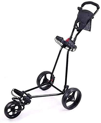 Chariots De Golf Chariot de Golf Panier de Golf léger Pliable avec 360 Roue Avant tournante Une Seconde for Ouvrir et Fermer 3 Roues Push Pousse-Poussoir (Color : Black)