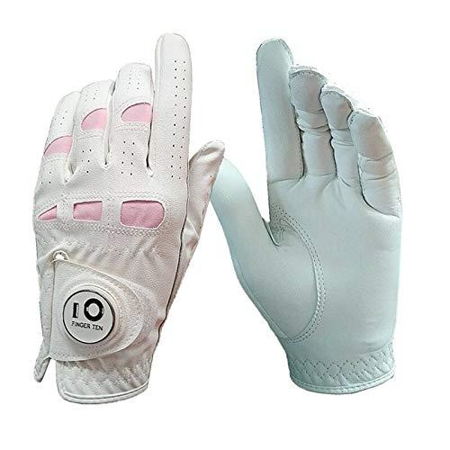Gant De Golf Mesdames Cuir Breathbale Gants de Golf Femmes Main Gauche poignée Droite extérieure Souple Anti Slip Gant avec marqueur de Balle 1 Pcs (Color : Worn on Right Hand, Size : Medium 20)