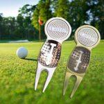 Outil de réparation de balle de golf verte en alliage de zinc
