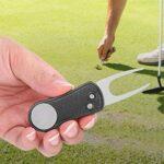 Pwshymi Outil de réparation Divot en métal Pliable Divot Golf Pitch Balle marqueur Golfeur Switchblade Outil(Noir)