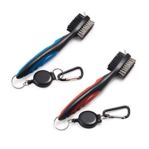 Xintan Tiger Pack of 2 Golf Club Brush Groove Cleaner with Retractable Zip-line and Aluminum Carabiner Cleaning Tools