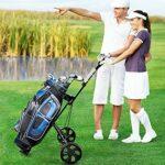 Costway Chariot de Golf à 2 Roues Pliable avec Emplacement pour 4 Tees, 4 Balls et Tableau de Score, Caddie de Golf Multifonctionnel Facile à Ranger et Transporter avec Design Compact