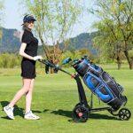 Costway Chariot de Golf à 3 Roues Pliable avec Poignée Réglable Carte de Pointage Porte-Parapluie et Porte-Tee Support de Téléphone Sac en Maille Noir