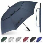 Gonex parapluie golf automatique plus grand anti-UV avec double auvent coupe-vent résistant à l'eau, parapluies ventilés surdimensionnés pour 2-3 hommes femmes, Bleu, 54 pouces / 137cm