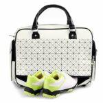 Gyubay Design Pratique PU Golf Vêtements Sac Sport Sac à Bagages Sac Fitness Sac de Chaussures Trip Sac de Vêtements de Golf Épais (Couleur : Blanc, Size : 48X30X26CM)