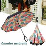 laoonl Parapluie de voiture inversé à double couche, mains libres, protection contre le vent, protection UV, double poignée pour vélo unisexe
