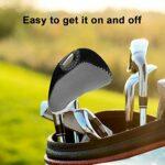 Vbestlife 10 pièces de Protection de tête de Golf, Housses de tête de Club de Golf pour têtes de Fer tête de Club de Golf((Gris + Noir))
