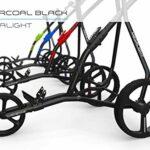 Wissbone One Chariot de golf pliable 3 roues pour sac de golf – Super léger et facile à plier – Système Tri Card 3 roues – Flexible pour tous les sacs et kits de golf (bleu charbon)