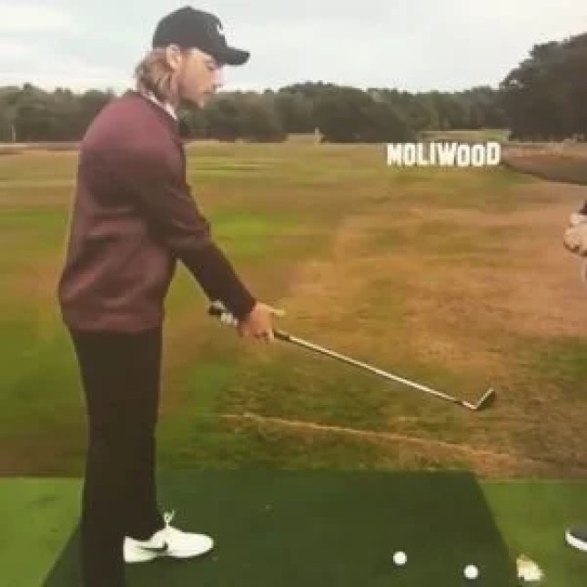 Tommy Fleetwood demonstrating the windmill drill