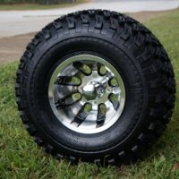 """10"""" Golf Cart Wheels and Tires Combo Set of 4 Machined/Black w/ All Terrain Tires"""