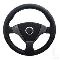 Golf Cart Mach1 Steering Wheel - Black/Carbon Fiber