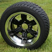 "12"" Golf Cart Wheels and Tires, Machined/Black, Set of 4"