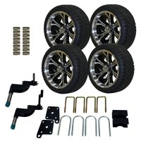 Pro-Fit 750504PKG 215/35 to 14-Inch Backlash Tire with Machined Black Optimus Wheel Package and Lift Kit Combo for TXT, 5-Inch