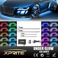 "Xprite 21 Color New Version 5050 SMD High Intensity LED Car Underglow Underbody System Neon Strip Lights Kit 48"" x 2 & 36"" x 2 w/ Flashing Breathing Active Function and Wireless Remote Control"