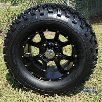 "12"" STALKER Black Aluminum Wheel and 23"" All Terrain Golf Cart Tires Combo - Set of 4"