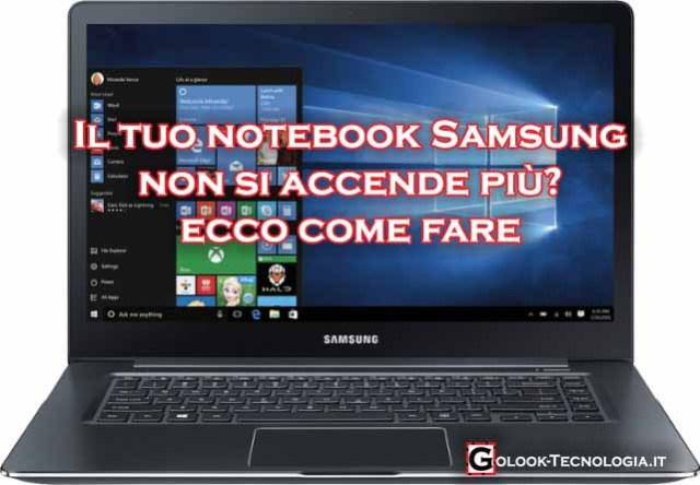 notebook portatile samsung non si accende più