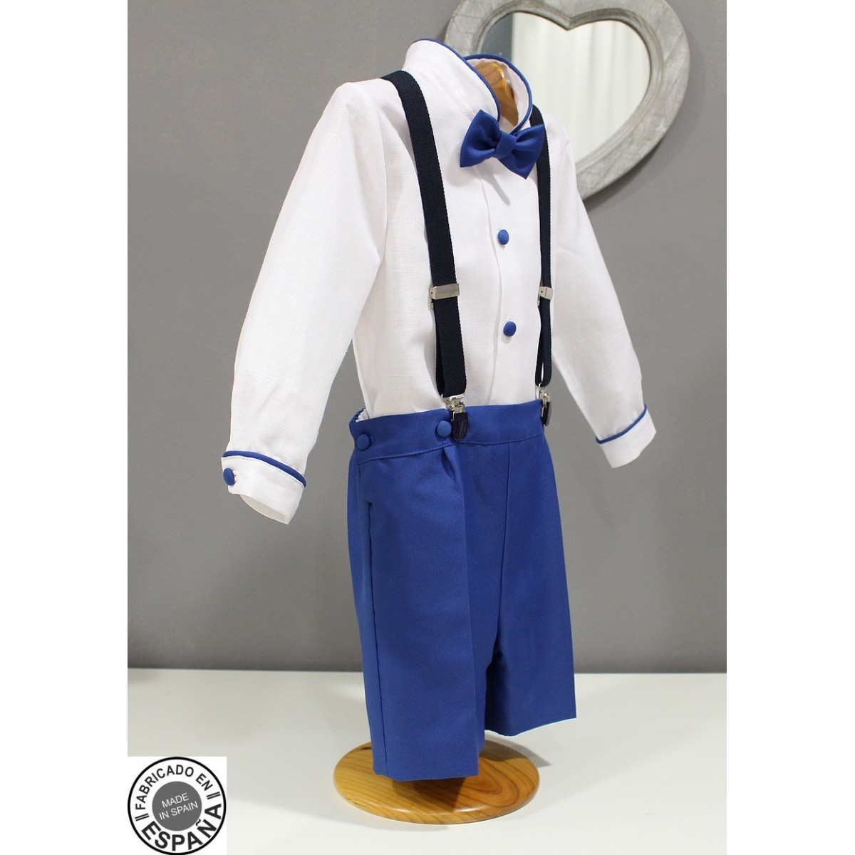 Boy Ring Bearer Outfit White Linen With Royal Blue Shorts