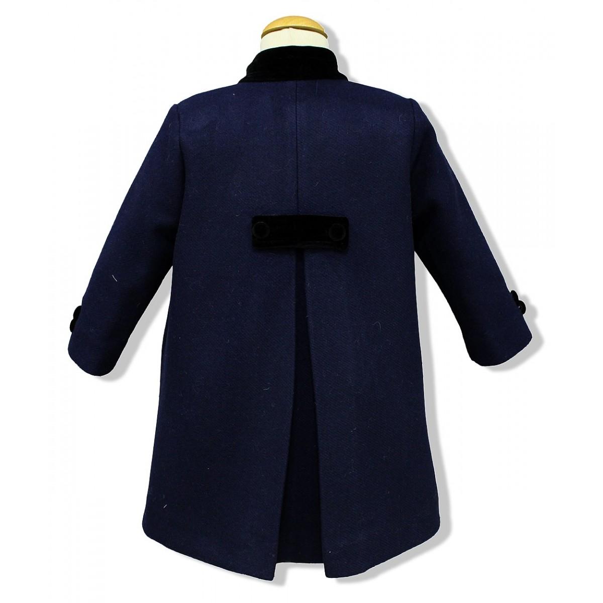 Double Breast Children Coat Navy Blue Wool English Coat For Kids