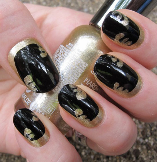 Black And Gold Nail Art Designs Images