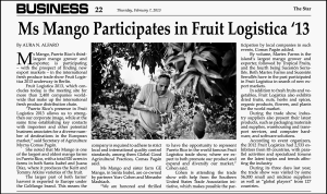 Article in The Star newspaper about GO Mango Presence in Fruit Logistica '13 in Berlin, Germany.