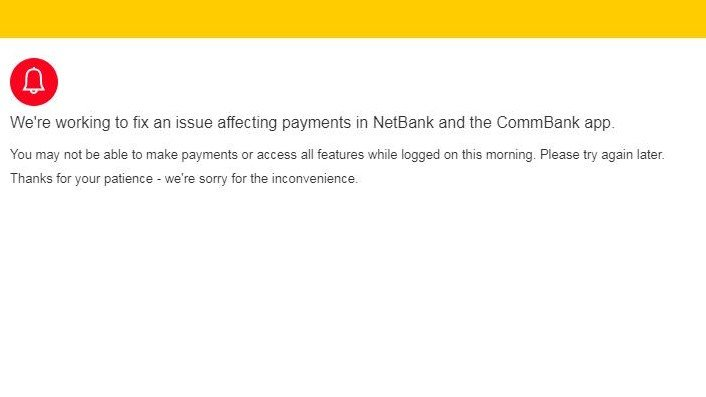 Commbank online banking down