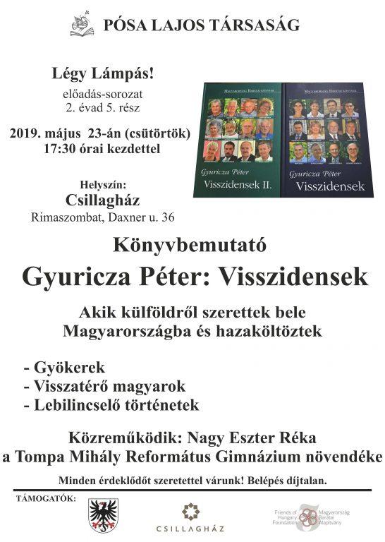 Gyuricza Péter: Visszidensek című két kötetének bemutatója Rimaszombatban