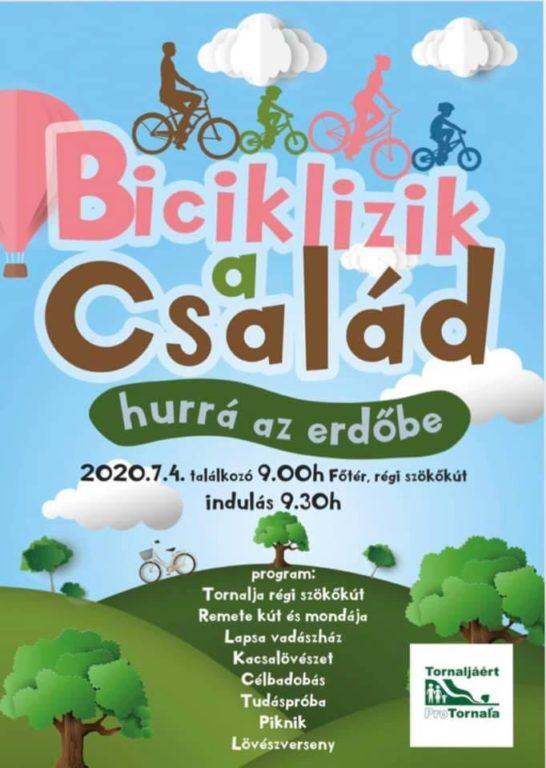 Biciklizik a család Tornalján